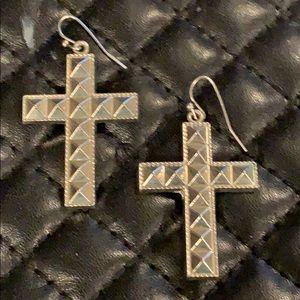 Dolls Kill Silver Studded Crucifix Cross Earrings